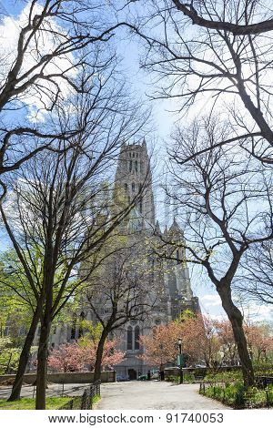 A vertical perspective of the Riverside Church from Sakura Park during Spring. poster