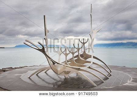 Sun Voyager monument, landmark of Reykjavik city