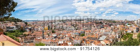 Panoramic View Of Lisbon From Miradouro Da Graca Viewpoint  In Lisbon, Portugal