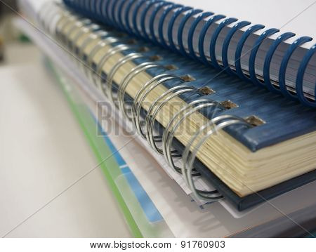 Stack Of Ring Binder Book And Document