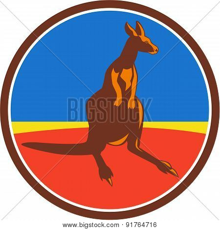 Illustration of a kangaroo wallaby joey looking to the side viewed from front set inside circle done in retro style. poster