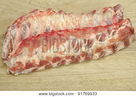 Raw Pork Spareribs Close-up