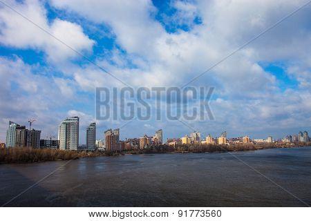 The Dnieper River In Kyiv Near Obolon District