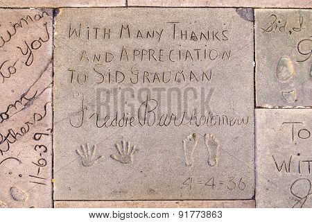 Handprints  Of Freddy Bartholonew In Hollywood Boulevard In The Concrete Of Chinese Theatre's Foreco