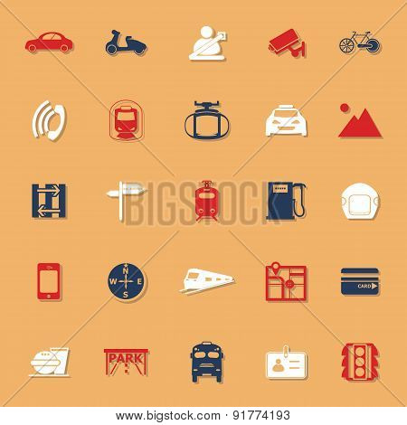 Land Transport Related Classic Color Icons With Shadow