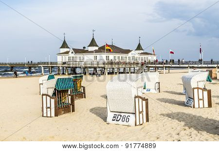 Pier And Beach Of Ahlbeck At Baltic Sea On Usedom Island