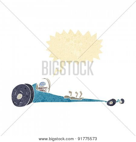 cartoon drag racer with speech bubble poster