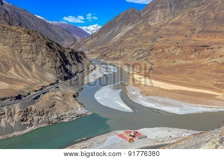 Confluence Of River Zanskar And River Indus
