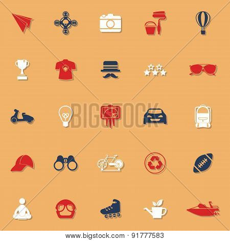 Hipster Classic Color Icons With Shadow