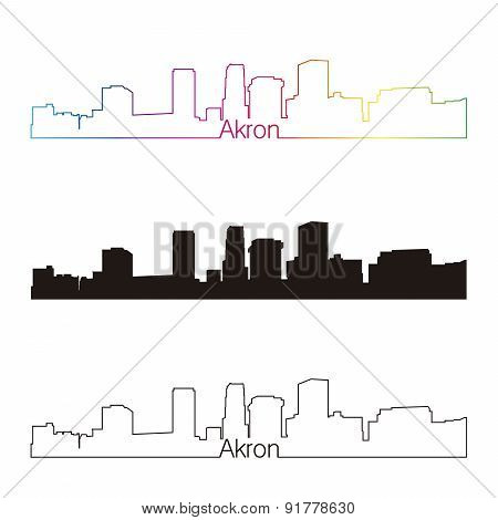 Akron Skyline Linear Style With Rainbow
