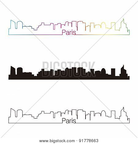 Paris Skyline Linear Style With Rainbow