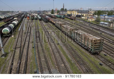 Railroad Classification Yard Many Freight Cars Are Lined Up, Russia.