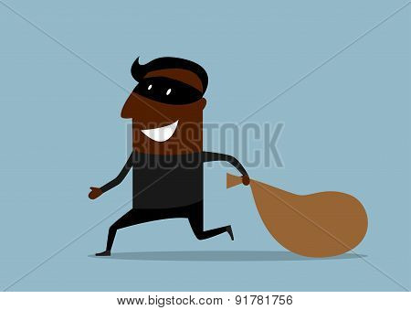 Black thief running with sack of loot