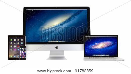 Apple Imac, Macbook Pro, Ipad Air 2 and Iphone 6