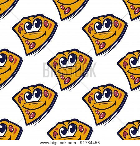 Seamless pattern with cartoon pizza slices