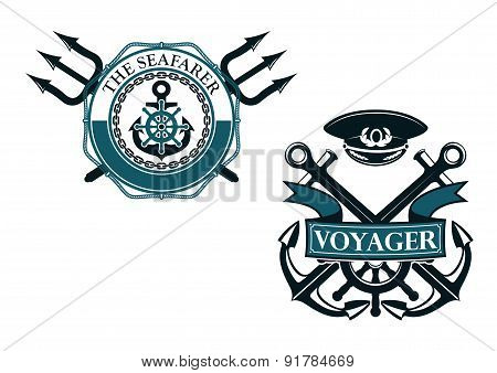 Retro voyager and seafarer nautical badges