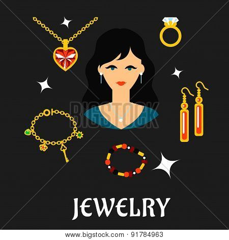 Woman with jewels and gold in flat style