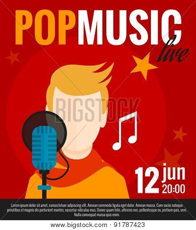 Pop music concert promo poster with singer and microphone flat vector illustration poster