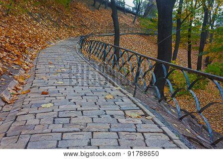 Footpath In Autumn Park. Kiev, Ukraine
