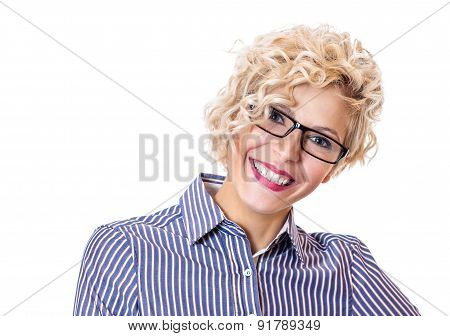 Smile Cheerful Young Formal Woman ,isolated On White Background. Close Up Studio Shot Of A Happy Fem