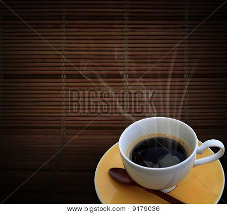 Hot Coffee On Bamboo Mat
