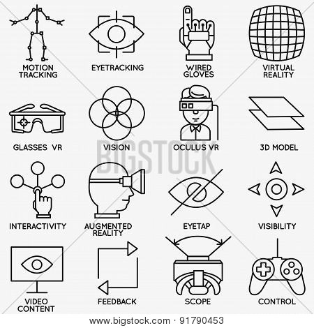 Set of vector linear icons of devices for virtual reality - vector icons poster