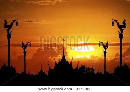 Thai Temple In Silhouette