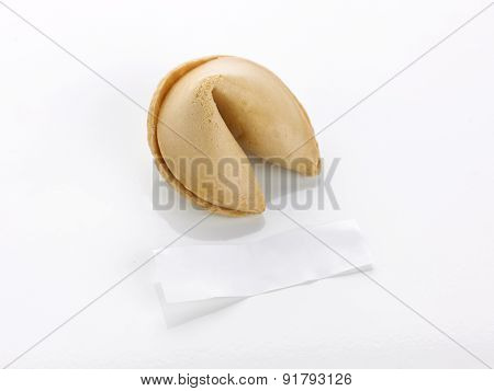 Single Fortune Cookie And Blank Motto