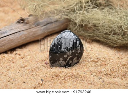 Snowflake Obsidian On Beach