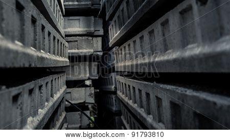 Passage inside a maze of concrete