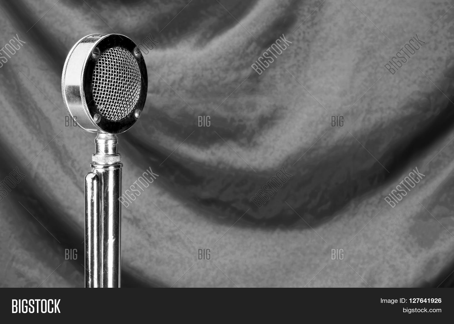 Old microphone in black and white with room for your type