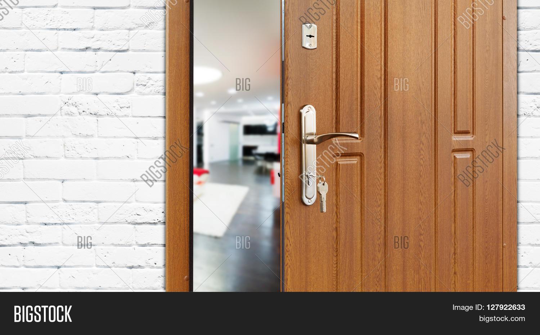 Charmant Half Opened Door To A Living Room. Door Handle, Door Lock. Lounge Door