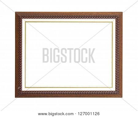 Brown picture frame isolated on white background.