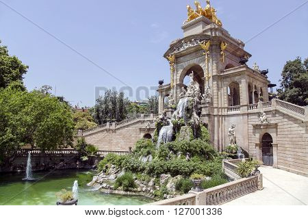Cascade fountain of Parc de la Ciutadella in Barcelona, Spain. It was erected by Josep Fontsere and to a small extent by Antoni Gaudi, who at that time was still an unknown student of architecture.