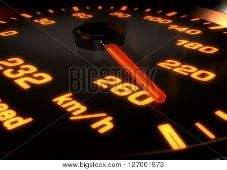 3D Illustration of a Car speedometer with needle up at 260km per hour. Bright orange lights and dials with depth of field.