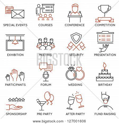 Vector set of 16 thin icons related to event management event service and special event organization. Mono line pictograms and infographics design elements - part 2