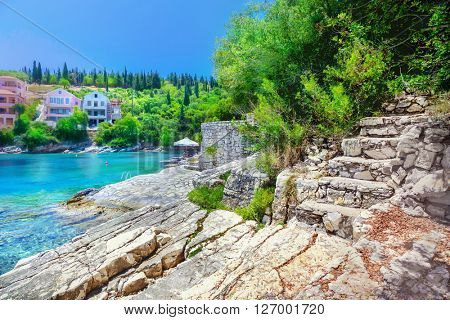 Fiskardo beach, Kefalonia island, Greece