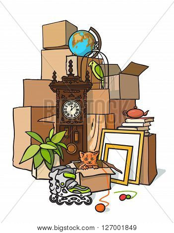 The concept of moving. cargo delivery. Moving to another housing apartment. Mountain boxes with things. Transportation of boxes out of the house. Packing things to move to another apartment housing