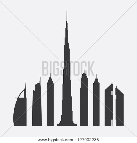 Collection of Seven Famous Skyscrapers Silhouette in Dubai: Burj Al Arab, Almas Tower, 23 Marina, Burj Khalifa, The Princess Tower, Elite Residence, Emirates Towers - For Editorial Use