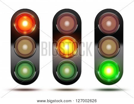 3D Illustration of Collection of traffic lights showing the sequence of how the lights glow from red orange and green. Isolated on white with shadow.
