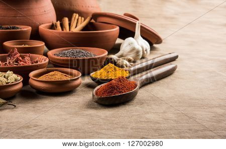 indian spices in terracotta pots, indian colourful spices, group of indian spices, group of spices, india and spices arranged in different size terracotta pots poster