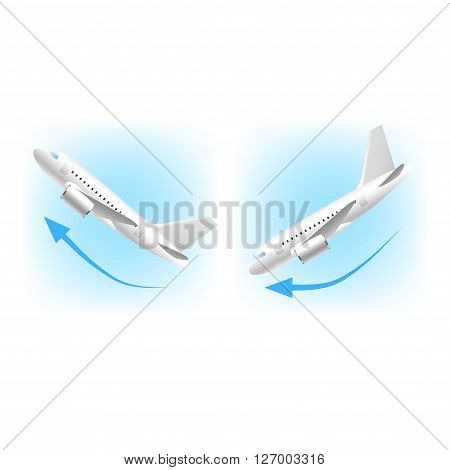 Takeoff and landing icons isolated on white vector illustration