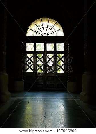 light through a corridor in an old building in Ukraine ** Note: Visible grain at 100%, best at smaller sizes