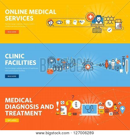 Set of flat line design web banners for online medical diagnosis and treatment, online services, hospital and clinic facilities. Vector illustration concepts for web design, marketing, and graphic design.