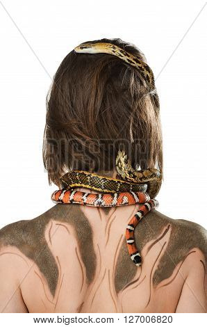 Girl from back with bodyart and with snakes in the image of Gorgon medusa. Isolated on white background