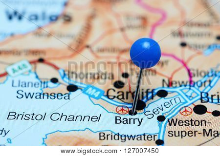 Barry pinned on a map of Wales