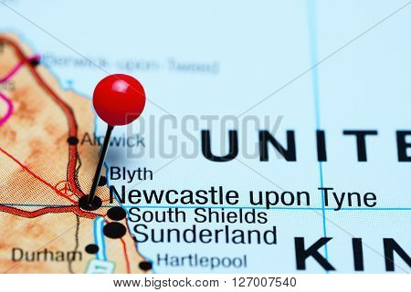 Newcastle upon Tyne pinned on a map of UK