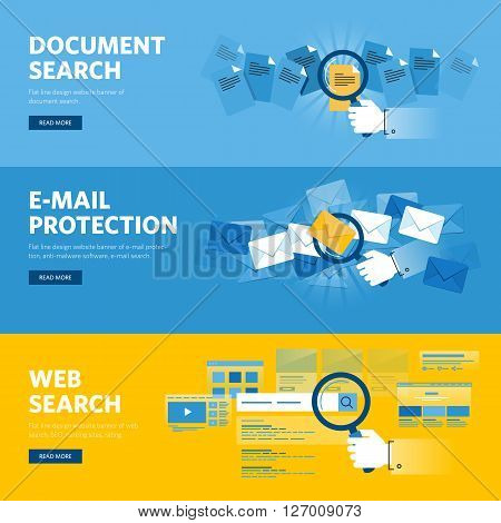 Set of flat line design web banners for document search, website search, email protection, browser app, internet services. Vector illustration concepts for web design, marketing, and graphic design.