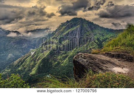 Sri Lanka landscapes nature background.View from Adam's peak small Ella. Sri Lanka Sunrise in the jungles of Sri Lanka.