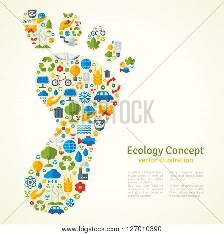 Footprint with Ecology Icons Pattern. Vector Illustration. Ecologic Creative Concept. Abstract Infographics Template. Save the planet poster.